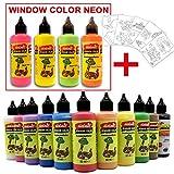 15 Farben Window Color Set Fenstermalfarben Kreativ Neon Design Fensterbild + Malvorlagen