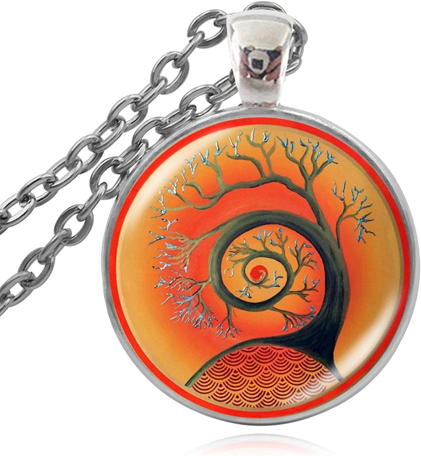 Necklace Glass Cabochon Ranking TOP4 Buddhist Pendant New York Mall Flower Art Necklaces Fo