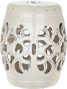 Safavieh Imperial Vine Ceramic Decorative Garden Stool, Cream