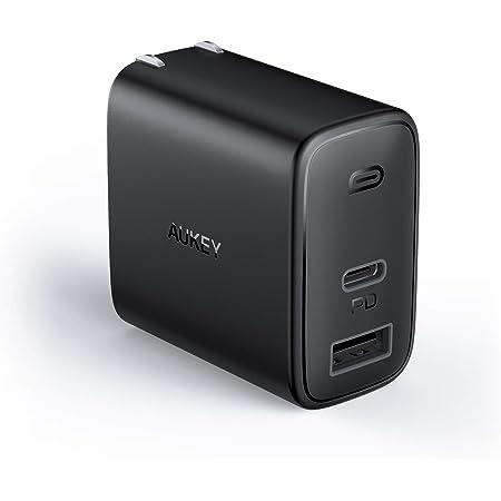 PD 充電器 AUKEY Type C 急速充電器 32W USB-A + USB-C 最小・最軽量クラス 折畳式 /2ポート/ PD3.0対応/折りたたみ式/ iPhone 12 / 12 Pro / 12Pro Max/iPhone 12Mini /iPhone 11/11 Pro/XR/8、GalaxyS10、MacBook、iPad Pro、Nintendo Switchその他USB-C機器対応 ブラック