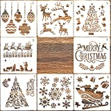 AIEX 8 pièces Modèle de Pochoirs de Noël Pour la Peinture sur Bois, Fabrication de Cartes de Scrapbooking de Journal, Décoration de Noël Bricolage (12,7 x 12,7 cm)