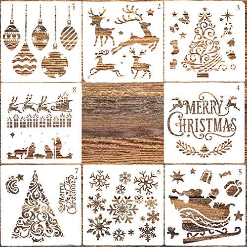 AIEX 8 pezzi Modello di Stencil di Natale per la Pittura di Legno, Creazione di Biglietti per Album di Ritagli di Giornale, Decorazione di Natale fai da te (12,7 x 12,7 cm)