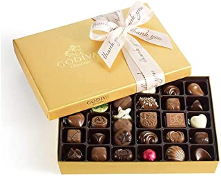 Godiva Chocolatier Assorted Chocolate Gold Gift Box with Thank You Ribbon, Chocolate Gifts, Great for Gifting, Premium Chocolate Candy, Gifts for Her, 36 pc