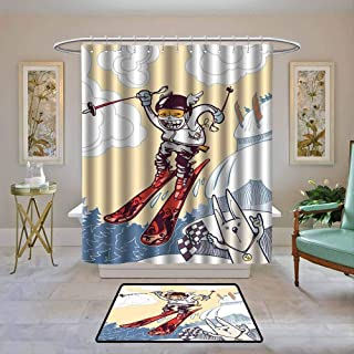 Waterproof Fabric Shower Curtain Kids Decor,Cute Boy Skier Sliding down and Jumping from the Snow Cliffs with Dog Graphic,Multicolor,Machine Washable - Shower Hooks are Included 72