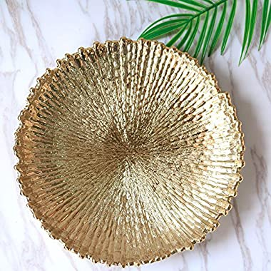 Purzest Home Décor Decorative Dish,Round Decorative Serving Tray,Food Safe Dishware,Gold,12.6 inch