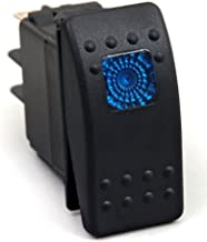 Amarine-made 12v 20 Amp Waterproof Blue LED On/off Boat Marine SPST 3P Rocker Switch with Light