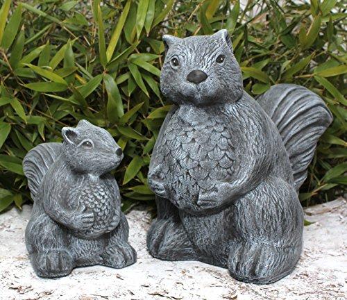 Squirrel ornament - Set of 2- Statue Stone Garden Outdoor Indoor Sculpture