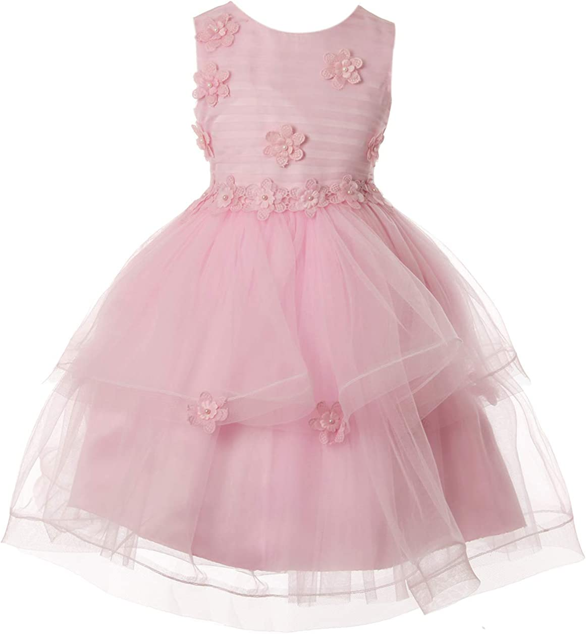 Girl Special Occasion Dress with Flower on Waist Line Bodice and Skirt
