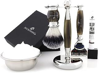 Jag Shaving Scheerset - 3-delige scheerset - Jag's Lee Range - 5 Edge Scheermes - Snythetic Silvertip scheerkwast - Elegan...
