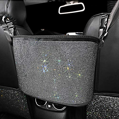 eing Car Mesh Organizer,Seat Back Net Bag,Bling Crystal Barrier of Backseat Pet Kids,Cargo Tissue Purse Holder,Driver Storage Netting Pouch with Crystal Diamonds,Pure White