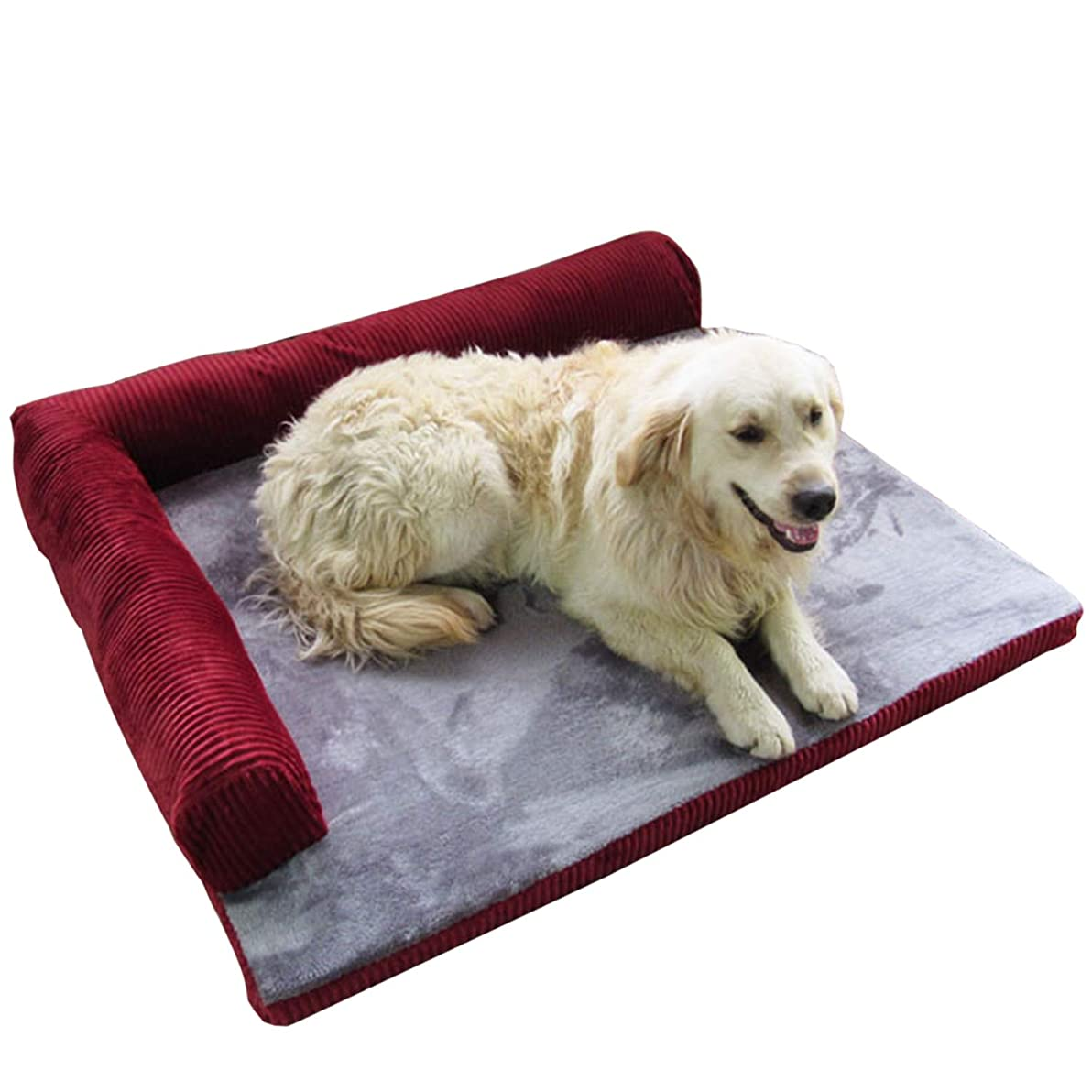 許容できる彼女自身製造Tamkyo 大型犬用犬用ベッド ペットハウスソファマット 犬用ベッド 冬の犬小屋 柔らかいペット猫のハウスブランケットクッション ハスキーラブラドール用-レッド