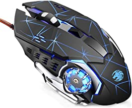 TENMOS K85 Wired Gaming Mouse Silent Click, Ergonomic Wired USB Computer Mouse with 4 Adjustable DPI, Breathing LED Light,...