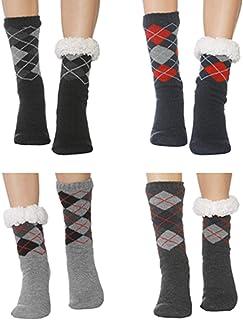 XMYNB, Calcetines de Invierno Hombres Suelo 4Pair Lange Antideslizantes Casa Caliente En Invierno Humano Zapatilla Fuzzy Navidad Zapatillas Calcetines Duplicando