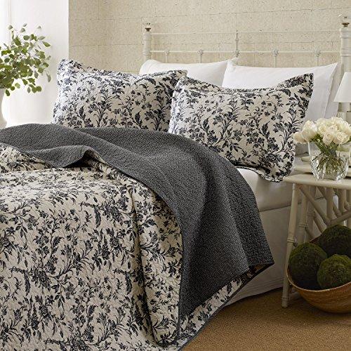 Laura Ashley Amberley Quilt Set, King (Black) Classic Floral Sheet Set