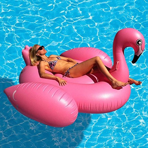 BARGAINS-GALORE GIANT INFLATABLE FLAMINGO FUN WATER FLOAT RAFT RIDE ON POOL...