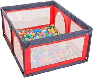MWPO Playpen Playground Safe Activity Center Strong and durable Durable toddler play area Door space crawl  floor mat customized  with 100 balls  red