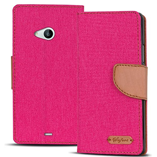 Verco Lumia 535 Hülle, Schutzhülle für Microsoft Lumia 535 Tasche Denim Textil Book Hülle Flip Hülle - Klapphülle Pink