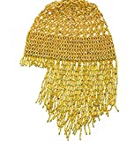 2021 DJ/Pub Sparkling Hat Exotic Cleopatra Belly Dance Beaded Cap Headpiece Accessory(Gold)