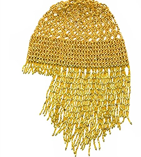 DJ/Pub Sparkling Hat Professional Exotic Cleopatra Belly Dance Beaded Cap Headpiece Accessory(Gold)