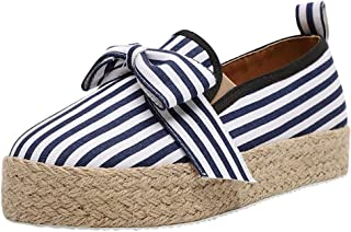 JJHAEVDY Women`s Bow Espadrilles Platform Slip On Loafers Casual Round Toe Comfy Moccasin Sneaker Flat Walking Shoes