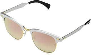 Ray-Ban RB3507 Clubmaster Aluminum Square Sunglasses, Brushed Silver/Copper Gradient Flash, 51 mm