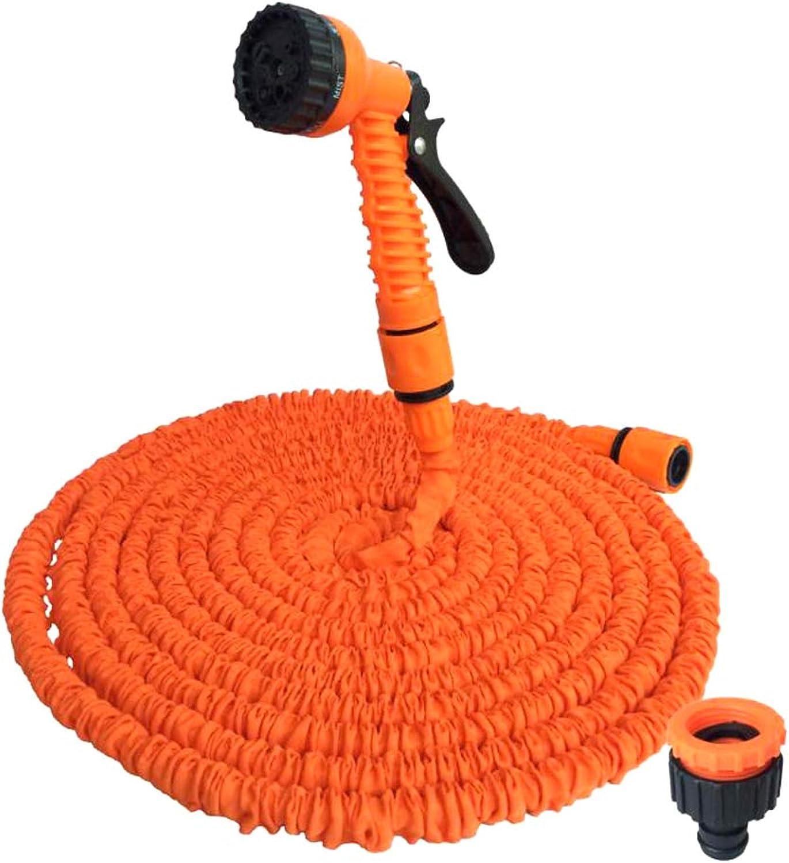Telescopic Water Pipe Car Wash Water Gun High Pressure Multifunction Hose Garden Garden Tools orange Set Household,25FT