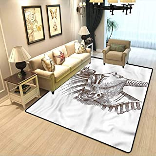Ancient Floor mat for Office Chair Carpet Egypt Tutankhamun Pharaoh Non-Slip Soft and Comfortable Carpet W6.5 x L9.8 Feet