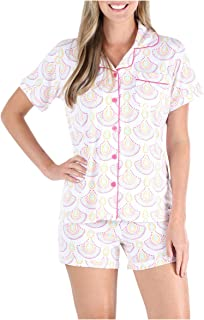 Sleepyheads Women's Sleepwear Jersey Short Sleeve Button-Up Top and Shorts Pajama Set