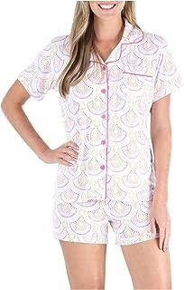 Women's Sleepwear Jersey Short Sleeve Button-Up Top and Shorts Pajama Set
