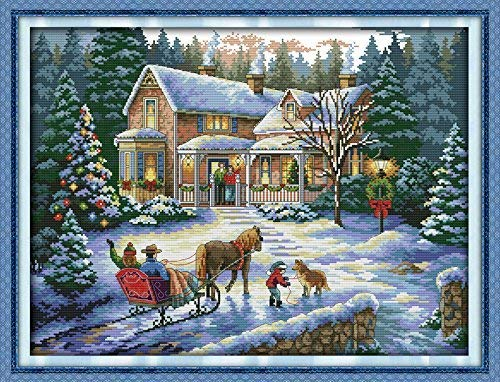 Happy Forever Cross Stitch Kits 11CT Stamped Patterns for Kids and Adults, DIY Preprinted Embroidery Kit for Beginner, Merry Christmas (F531 Return from Christmas, Size 24''x19'')
