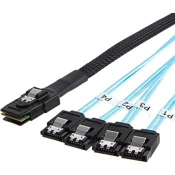CableCreation Mini SAS 36Pin (SFF-8087) Male to 4 SATA 7Pin Female Cable, Mini SAS Host/Controller to 4 SATA Target/Backplane, 0.5M / 1.6FT