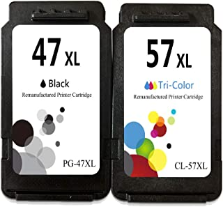 LEBOK Remanufactured PG-47XL CL-57XL Ink Cartridges for Canon PG47 47XL CL57 57XL Ink Cartridges for Canon Pixma E3370 E34...