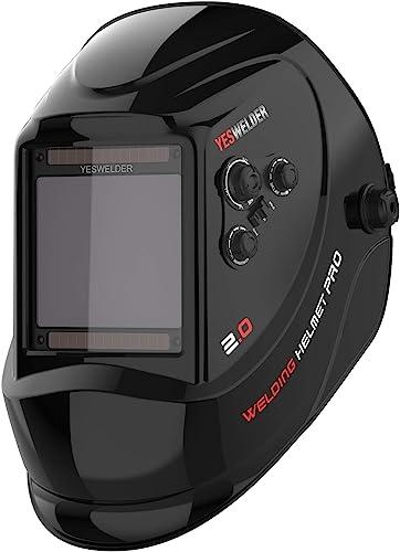 "YESWELDER Large Viewing Screen 3.94""X3.66"" True Color Solar Power Auto Darkening Welding Helmet, 4 Arc Sensor Wide Shade 4~5/9-9/13 for TIG MIG Arc Weld Grinding Welder Mask LYG-M800H"