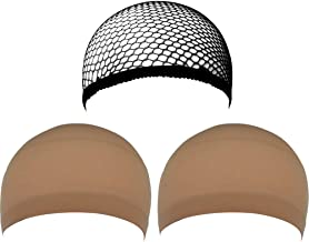 eBoot 3 Pack Wig Caps (Neutral Nude Beige and Black Mesh)