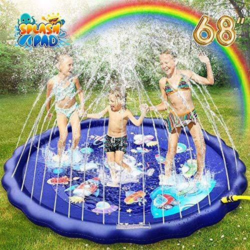 Robusto Splash Pad para niños pequeños, 68 '' Gran colchoneta de juego de salpicaduras para la educación temprana y los juegos al aire libre, juguetes de agua inflable de PVC seguros, divertidos jugue