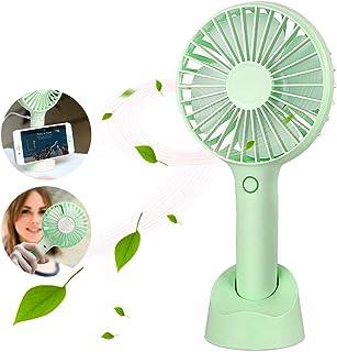 Parsion Hand Fan, Ventilador Portátil USB con Base, Mini Ventilador Recargable Fan con 3 Velocidades Ajustables, Ventilador de Mano Adecuado para Oficina, Hogar, Viajes, etc.
