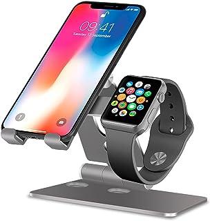 PHOCAR Soporte para Móvil, Dos en Un Soporte para Celular y Reloj Intelegente, Spotorte Plegable de Escritorio para Apple ...