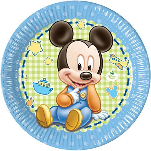 23 cm bébé Mickey Mouse Assiettes, Lot de 8