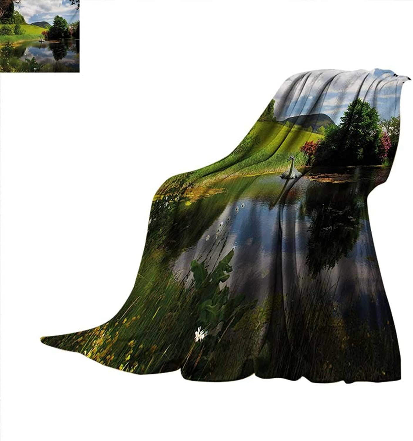 Natureblanket Throw blanketLake by Meadow in a Sunny Day Rural Country Valley Scottish Summertime Landscapeoutdoor Blanket 60 x50  Multicolor
