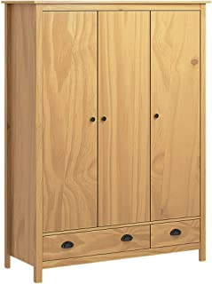 pedkit Armoire de Salon Garde-Robe à 3 Portes Armoire de Rangement Hill Range Marron Miel 127x50x170 cm Pin Solide