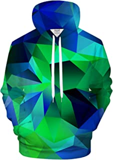 XGYPZM Sudaderas con Capucha Sudadera con Capucha con Estampado 3D de geometría Verde para Hombre y Mujer, Jersey Informal...