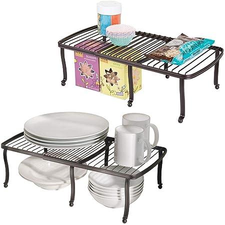mDesign étagère pour assiettes – étagère de cuisine pour le plan de travail, le buffet de cuisine et le placard – rangement de vaisselle qui économise l'espace dans la cuisine – bronze - Paquet de 2