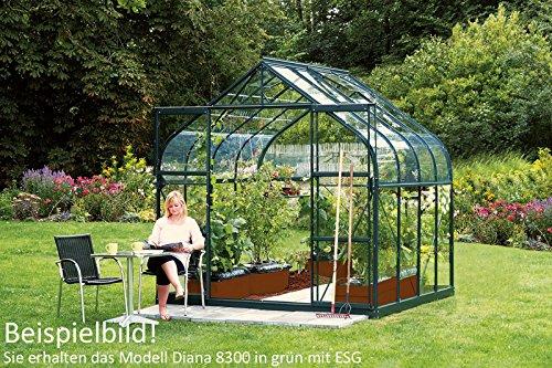 Vitavia Gewächshaus Diana - Ausführung:8300 ESG 3 mm Grün, Fläche:ca. 8,3 m², Fenster:2, Maße:263 x 321 cm, Sockel:255 x 317 cm,
