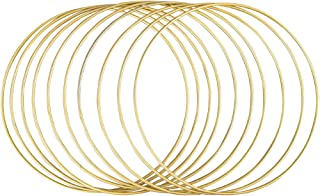 Rayher 25215616 Anneaux en métal revêtu p. arts créatifs, 10 pces 20cm ø, doré