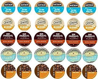 30 KONA & Hawaiian Tropical Sampler! Single Serve cups -Kona Blends by Don Francisco + Caza Trail + Aloha by Jetsetter + more