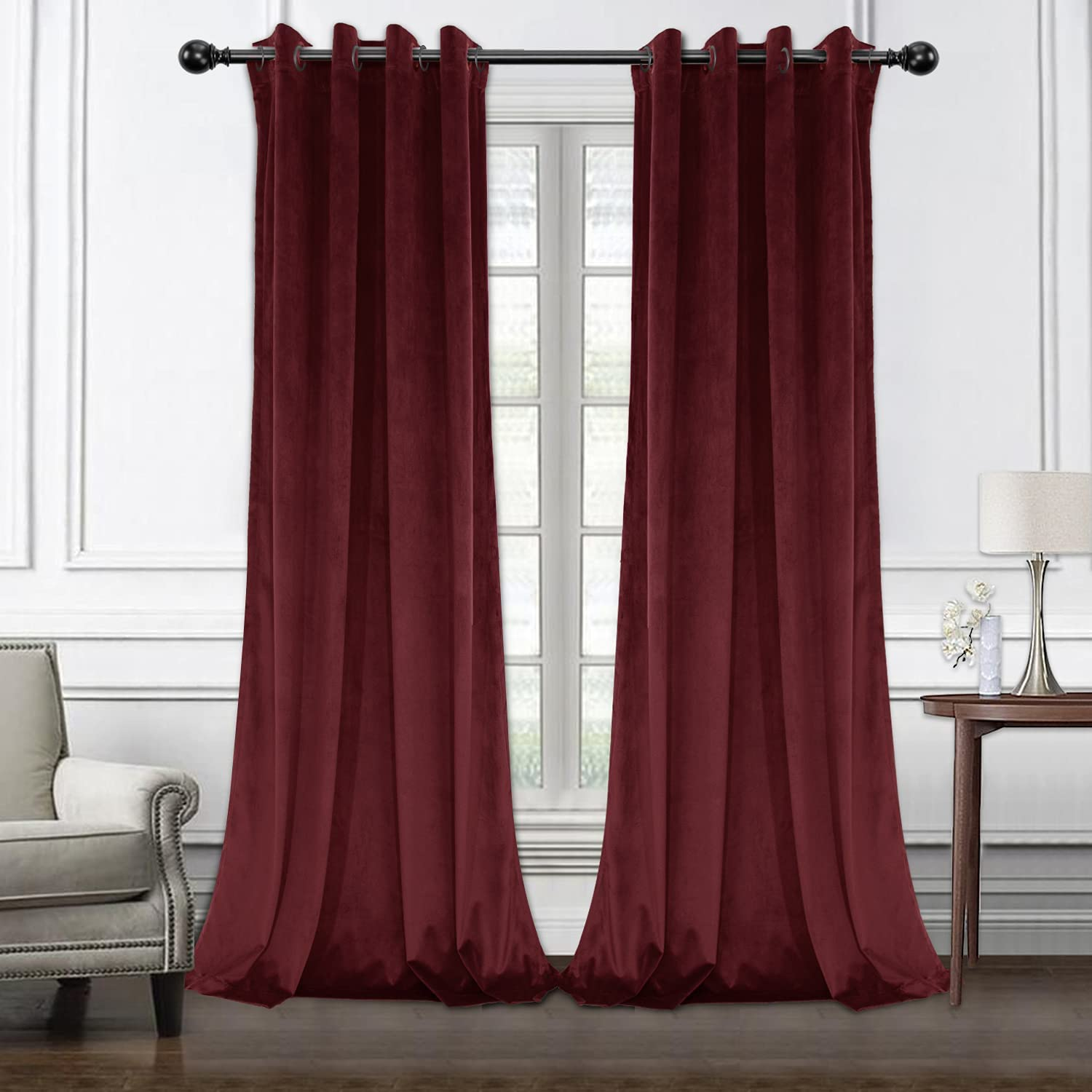 LORDTEX Burgundy Velvet Curtains for Insulated Bedroom - Ranking Max 82% OFF TOP19 Thermal
