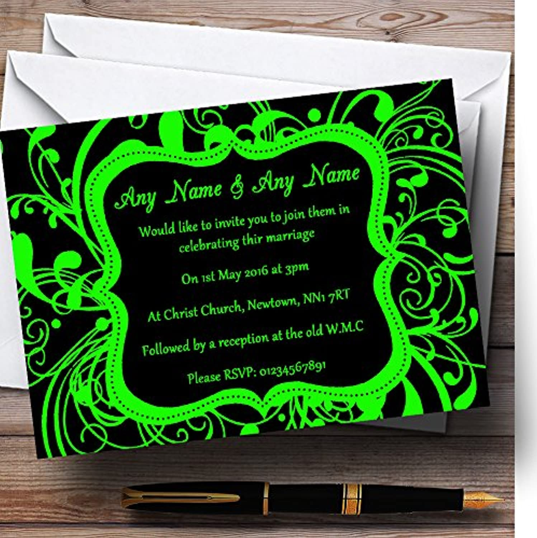 Black & Green Swirl Deco Personalised Evening Reception Invitations   Invites & Envelopes