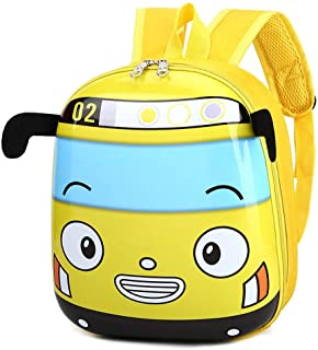 Mochila escolar de kindergarten de autobús de dibujos animados en 3D Mochila para niños pequeños (amarillo)