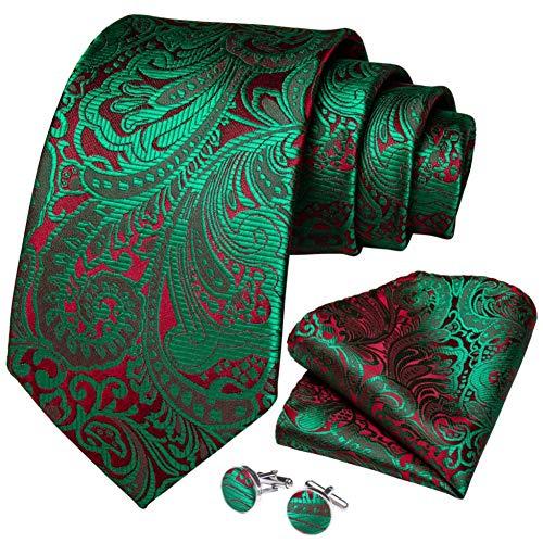 WOXHY Cravate Homme Vert Rouge Paisley Qualité Cravate De Mariage en Soie Boutons De Manchette Hanky Cadeau d'affaires Cravate Set Design Party