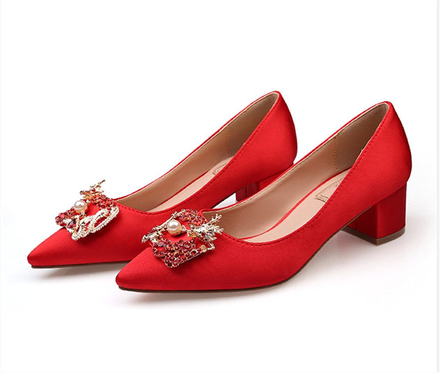 HYP Wedding Women shoes Wedding shoes Women Pumps Closed Toe Wedding Party Court shoes Bridesmaid Bridal shoes A Rough Track shoes with.